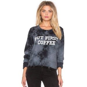 Tyley Jacobs But First Coffee tie dye sweater